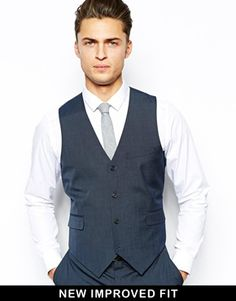 ASOS Slim Fit Vest In Sharkskin