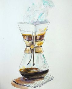 Chemex on a knitted table mat original watercolor by orangerinka
