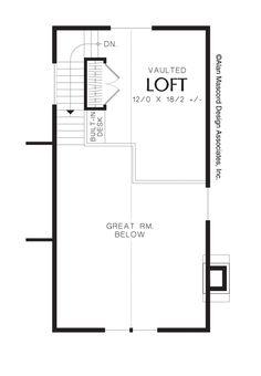 Image For Vanessa 1 Bedroom Cottage Plan With Loft Upper Floor Plan