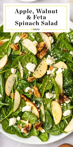 This Easy Spinach Salad with Apples, Walnuts, and Feta s a simple salad formula … – recetas de comidas y ensaladas saludables