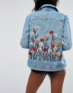 River Island Denim Trucker Jacket With Poppy Embroidery