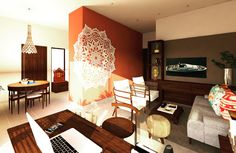 Small spaces with big ideas.Integrated design taking inspiration from the past of Maharashtra with details that look forward.Appartment design for a young couple proud of thier roots.A wall was removed to open out the single bhk thus distributing spatial functions evenly and finding space for a spacious study