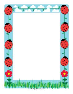 This ladybug border features several of the cute little red and black spotted… Borders For Paper, Borders And Frames, Baby Ladybug, Mickey Mouse Art, Psychedelic Drawings, Page Borders, Paper Birds, Class Decoration, Frame Clipart
