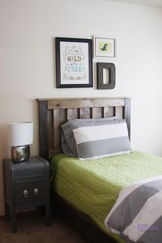 DIY Furniture Plan to build rustic camp style pine bed!