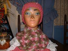 Crochet Variegated Pinks & Rose  Women Accessorie Scarf & Benie Hat Set NEW   #Handmade #LongScarfHatBenie