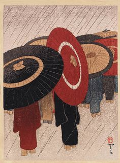 """""""Returning Home in the Rain"""" 1915 by Fritz Capelari by Plum leaves, via Flickr"""