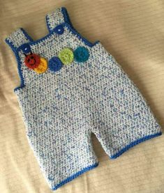 I have had lots of emails requesting a New born size for the Crochet Dungarees which I made back here , so here it is as promised. Knit Baby Dress, Baby Boy Romper, Crochet Baby Clothes, Baby Pants, Baby Jumpsuit, Baby Cardigan, Baby Knitting Patterns, Baby Patterns, Crochet Patterns