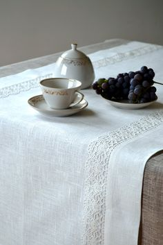 Table Runner / Placemat  For Two  - Tracery White Linen Lace. $32.00, via Etsy.