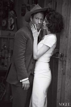 Aaron Eckhart and Lara Stone in Vogue.  Classic Peter Lindbergh.