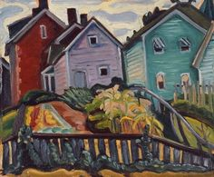 APC Prudence Heward (July 1896 – March Canadian artist / Expressionism , Abstact ~ Back Garden Canadian Painters, Canadian Artists, Red Houses, Female Painters, Back Gardens, Watercolor And Ink, Figure Painting, Landscape Paintings, Landscapes
