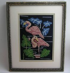 Vintage Flamingo Needlepoint Picture by sumpnsassy on Etsy, $17.00