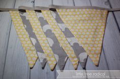ORGANIC  Yellow & Grey Elephant  Pennant by LittleFreeRadical, $40.00