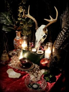 Samhain altar - Pinned by The Mystic's Emporium on Etsy Décor Wiccan, Wiccan Decor, Pagan Altar, Magick, Pagan Yule, Pagan Witchcraft, Samhain, Mabon, Halloween Chic