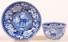 Staffordshire China Blue Transfer Doe Pattern :