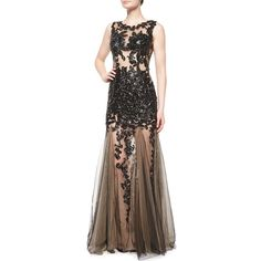 Jovani Sleeveless Beaded Lace Tulle Gown ($545) ❤ liked on Polyvore featuring dresses, gowns, beaded gown, beaded evening dresses, jovani gown, brown lace dress and lace ball gown