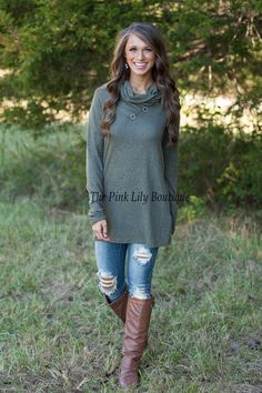 Cute As A Button Sweater Olive - The Pink Lily Boutique