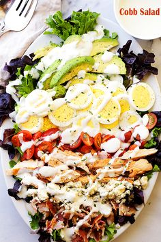 Cobb Salad - This classic American main-dish salad is packed with chicken, avocado, tomatoes, bacon, Main Dish Salads, Dinner Salads, Main Dishes, Healthy Salad Recipes, Quick Recipes, Cooking Recipes, Vegetarian Salad, Summer Recipes, Salad Bar