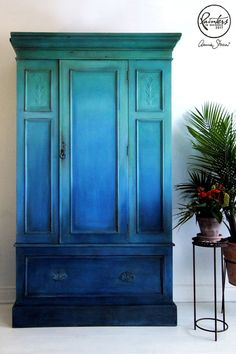 Ildiko Horvath blue ombré wardrobe painted with Chalk Paint® by Annie Sloan