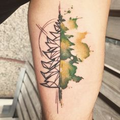 Watercolor and geometric tree by Georgia Grey at Bang Bang in New York, New York
