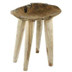 Teakholz Beistelltisch Massiv Sitzhocker Stool Metall Teak Tisch Holz  Blumenhocker   Unikat Handmade
