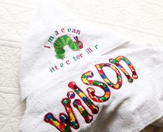 The Very Hungry Caterpillar  personalised hooded  towel