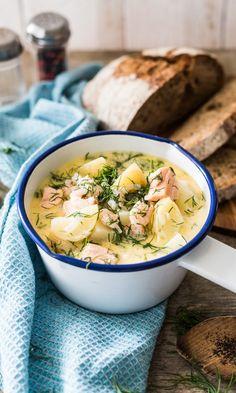 Katkarapu-lohikeitto | Maku Fish Recipes, Soup Recipes, Bon Appetit, Camembert Cheese, Nom Nom, Food And Drink, Tasty, Baking, Dinner