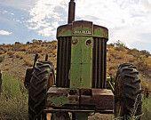 Industrial Decor Vintage Tractor Photograph - Old Green - Antique Green John Deere Farm Tractor Decor - 8x10 Fine Art Photo Print