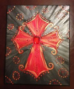 acrylic painted crosses on canvas | 10 Acrylic Hand Painted Red Cross on Canvas
