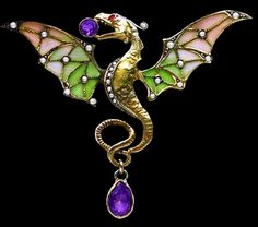 Art Nouveau dragon brooch. Enamelled and set with pearls and amethysts.