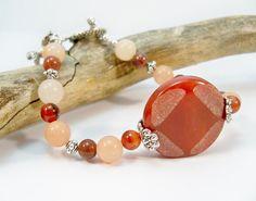 Gemstone Single Strand Bracelet Blood Red Bracelet by babbleon