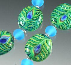 FRISKEY handmade Lampwork Glass Beads, PEACOCK FEATHERS !!! SRA   eBay