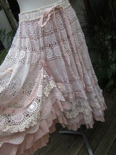 lace over pink sheet; ruffle hem, tack for vintage look