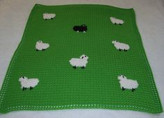 cute crocheted blanket with sheep.