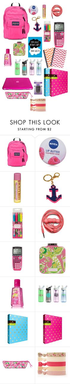 """""""What I have/wish I had in my backpack"""" by perfectlypreppypear ❤ liked on Polyvore featuring Nivea, Burt's Bees, Lilly Pulitzer, Urbanears, mae, CamelBak, C. Wonder, Forever 21 and Conair"""