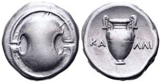 AR Stater. Greek, Boeotia, Thebes, Kalli- magistrate. Circa 363-338 BC. 21mm, 12,09g. Hepworth 63. Good VF. Price realized (2.7.2016): 238 EUR.