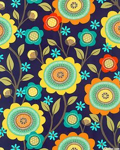 Stitch Floral Midnight Blue from Michael Miller Fabrics