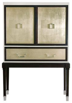 So.....Cool....... Sadie Hollywood Regency Espresso Champagne Leaf Illuminated Bar Cabinet - contemporary - Bookcases Cabinets And Computer Armoires - Kathy Ku...