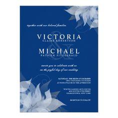 Sapphire Blue & White Floral Wedding Invitations