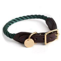 Hunter Green Rope Dog Collar