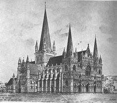 Nidaros Cathedral West Front - Wikipedia, the free encyclopedia Salisbury Cathedral, Trondheim, Gothic Architecture, Barcelona Cathedral, Building, Travel, Image, Free, Arquitetura