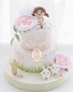 Adorable cake for a girl. 1st Birthday Cake For Girls, Baby Birthday Cakes, Rabbit Cake, Baby Girl Cakes, Cute Cakes, Celebration Cakes, Beautiful Cakes, Cake Designs, Cupcake Cakes