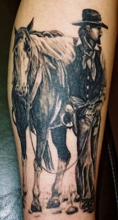 Black Ink Cowboy With Horse Tattoo Design For Arm Horse Tattoo Design, Tattoo Arm Designs, Cowboy Tattoos, Arm Tattoos, Tattoo Artists, Watercolor Tattoo, Tatting, Arms, Skull