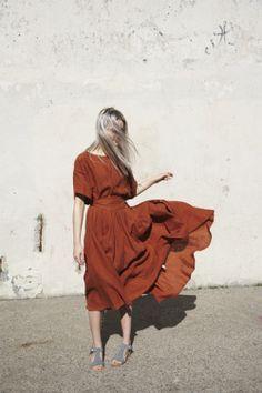 calivintage: Black Crane Wrap Skirt in Brick   Oroboro   Brooklyn, New York