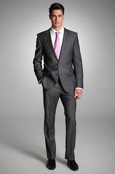 Slim Fit 2-Button 'Astro/Hill7' Suit by HUGO  Model Astro/Hill7 50201842 Dark Grey. You're GROOM!  Steven would look so good. Well, hopefully Dark Gray Suit, Dark Grey, Hugo Boss Suit, Suit Combinations, Party Suits, Business Casual Men, Fitted Suit, Guy Pictures, Well Dressed Men