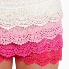 Ombre Dipped Lace Shorts by Banana U.S.A
