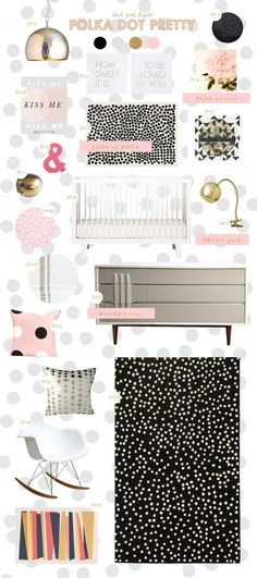 polka dot nursery--maybe not necessarily black and white, but an earthy color, pale peach or mint green? Use as accents with pillows/fabric on light fixture/wall?