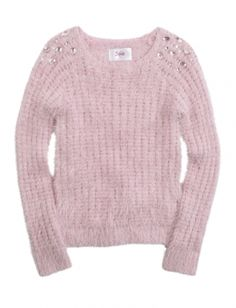 Fuzzy Embellished Shoulder Sweater
