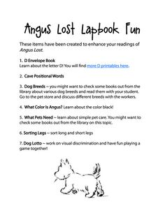 Angus Lost Lapbook and Printables