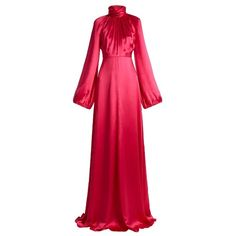 Gucci High-neck gathered satin gown (€5.255) ❤ liked on Polyvore featuring dresses, gowns, pink, red cocktail dress, satin evening dress, red ball gown, long evening gowns and pink evening dress