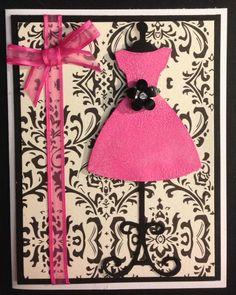 Handmade birthday card using Cricut Nifty Fifties cartridge dress